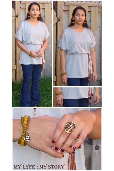 Dress dress - Denim Blue Jeans jeans - bracelet - ring - necklace - flats