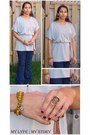 Dress-dress-denim-blue-jeans-jeans-ring-bracelet-necklace-flats