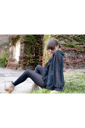 vintage express shirt - Noir Leather vintage shorts - black tights - Bershka sho