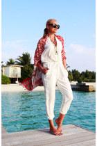 red Topshop necklace - black asos sunglasses - ivory Mango jumper