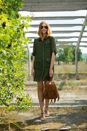 olive green asos dress