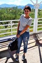 black backpack Kenneth Cole bag - light blue boyfriend Forever 21 jeans