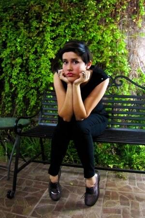 black peplum H&M top - 1461 Dr Martens shoes