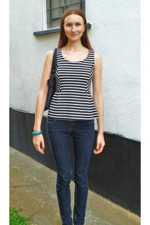 black poof apparel top - navy new look jeans - dark gray H&M bag