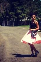 bubble gum handmade skirt - black ribbed cotton Old Navy shirt - red vintage bag