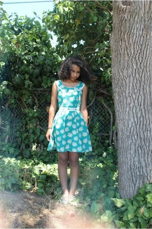 turquoise blue Trollied Dolly dress - aquamarine LuLus flats