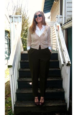 green pants - beige cardigan - brown shoes - white blouse