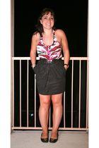 pink Zac Posen by Target top - black Ann Taylor Loft skirt - black tory burch sh