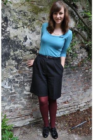 blue kohls shirt - black thrifted shorts - red H&M tights - black thrifted belt