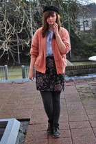 black Urban Outfitters shoes - black Monki hat - burnt orange thrifted cardigan