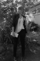 blazer - t-shirt - purse - shoes - pants - mac