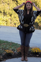 black Euphoria Boutique sweater - tawny Madden Girl boots - blue Old Navy jeans
