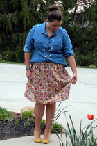 blue Old Navy shirt - francescas skirt - mustard Urban Outfitters heels