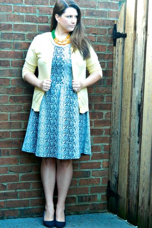 yellow Kayce Hughes necklace - Target dress - black Sole Society heels