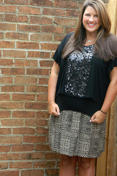 Target skirt - black Charlotte Russe top - silver Etsy necklace