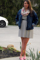 navy francescas dress - blue Old Navy jacket - light pink Charlotte Russe scarf