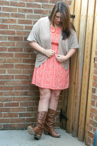 Steve Madden boots - Altard State dress - Loft cardigan