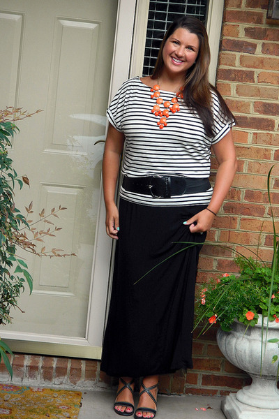 black maxi skirt kohls skirt - carrot orange jeweliq necklace