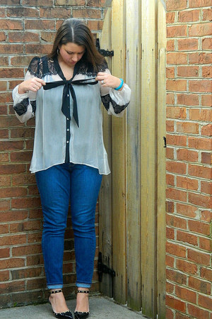 ivory Couture Crush blouse - blue Old Navy jeans - black Sole Society heels