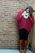 white Etsy scarf - tawny Bandolino boots - black Old Navy jeans
