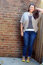yellow Old Navy flats - blue Old Navy jeans - white baublebar necklace