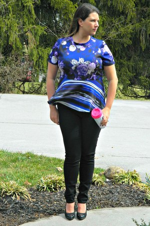 purple Eloquii shirt - black Old Navy jeans - black Nine West heels