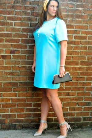 light blue vintage dress - black bag - beige Nine West heels