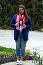 navy Old Navy cardigan - blue Old Navy jeans - hot pink Target belt