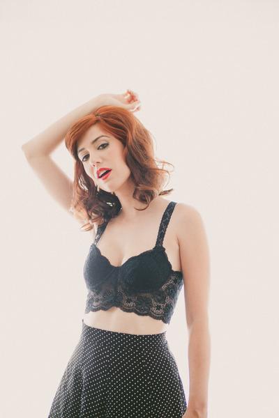 bralette Urban Outfitters top - polka dot skirt brandy melville skirt