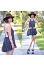 Dress-en-creme-dress-crimson-hat-asos-hat-wedges-charlotte-russe-wedges