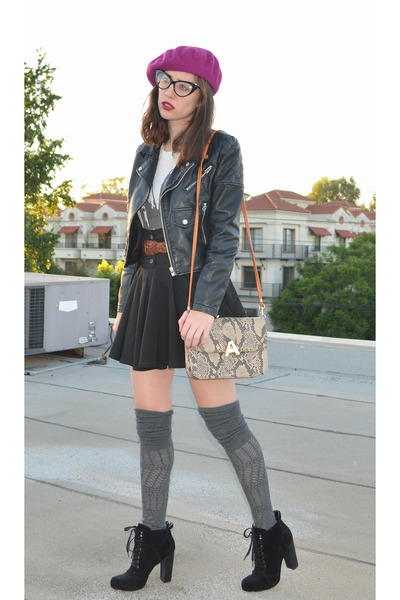 snakeskin bag bag - Nine West boots - beret American Apparel hat