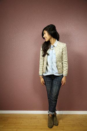 Aritzia jacket - Mango boots - madewell top