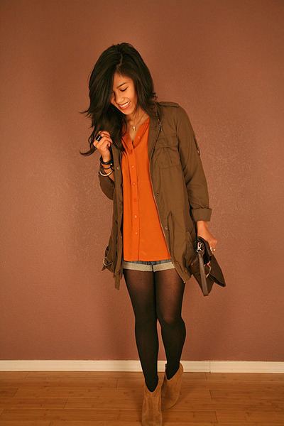 thrifted jacket - Aldo boots - f21 shorts - UO blouse