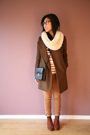 army green madewell coat - tawny JCrew shirt - burnt orange JCrew pants