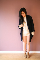 tan Aldo boots - beige UO sweater - light pink Dahlia pants