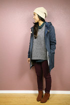 navy lifetime collective jacket - tawny H&M shoes - crimson JCrew pants