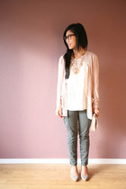 light pink Loft necklace - light pink JCrew cardigan - ivory Gap blouse