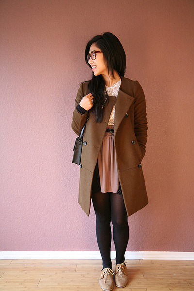 olive green madewell coat - tan f21 shoes - coral Nordstrom cardigan