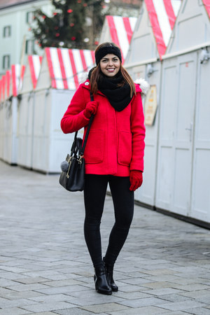 black CCC boots - red c&a coat - black reserved scarf - black zaful bag