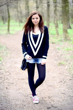 black romwe sweater - black Primark tights - black Primark bag