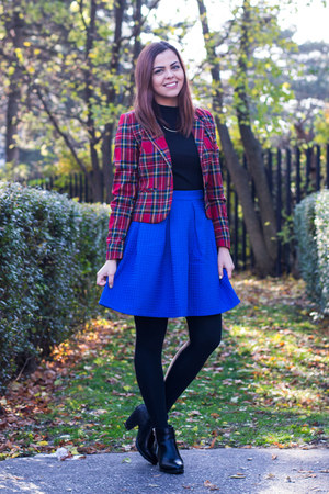 blue reserved skirt - black CCC boots - ruby red Gate blazer - black H&M top