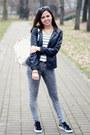 Gray-pull-and-bear-jeans-black-calliope-jacket-white-primark-bag