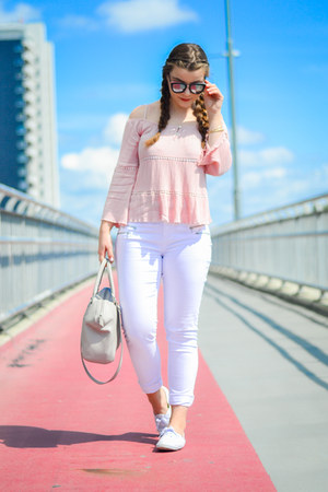 white F&F pants - beige H&M bag - black Aldo sunglasses - white Primark sneakers