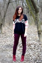 black PERSUNMALL sweatshirt - crimson new look pants - ruby red Primark wedges