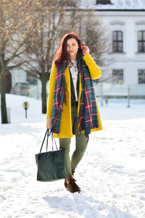 yellow Pimkie coat - dark brown CCC boots - teal Calliope scarf