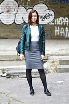 black Deichmann shoes - forest green Forever 21 jacket - black Carpisa bag