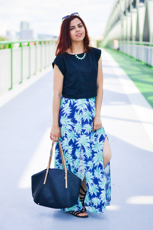 turquoise blue Primark skirt - black Parfois bag