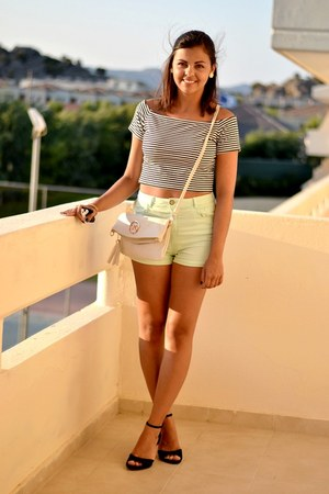 eggshell Michael Kors bag - light blue Bershka shorts - black Primark heels