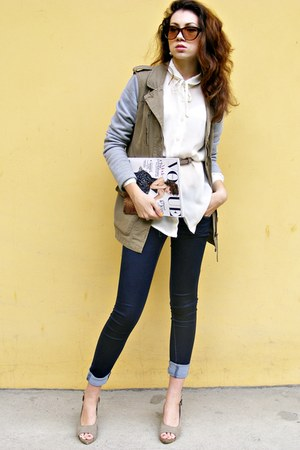 dark khaki jacket - navy jeans - eggshell silk shirt - brown sunglasses