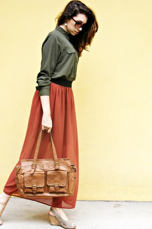 army green shirt - brick red silk dress - bronze skin bag